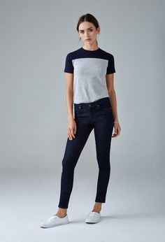 Dark Wash Mid-Rise Skinny Jeans for Mom to wear. Classic pair of dark skinny jeans that will pair well with any of the tops shown.