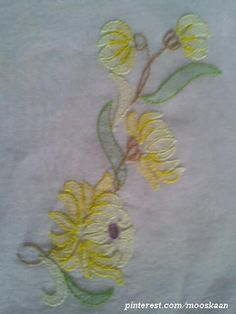 Shadow-work / Lucknow Chikan embroidery Single Motif in yellow on organdy sari pallu using Anchor Embroidery thread...... (Series 1-H)