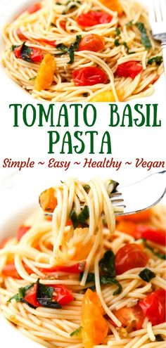 This simple fresh vegan tomato pasta is as easy as it is delicious! This pasta sauce is made with 5 simple ingredients in less than 10 minutes and is vegan and gluten-free yet no unusual or hard to find ingredients. Easy One Pot Pasta Recipe, Red Sauce Pasta Recipe, Healthy Pasta Recipes, Healthy Pastas, Vegan Recipes Easy, Healthy Foods, Free Recipes, Vegetarian Pasta Recipes, Vegan Pasta