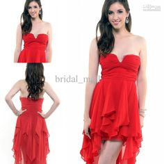 Wholesale Cocktail Dresses - Buy Ruffle Dipped Neckline Short front Long Behind Chiffon Hot Red Pageant Cocktail Dresses Prom BM761, $86.82 | DHgate