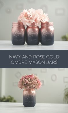 Mason jars in navy blue and rose gold Mason jars in navy blu. - Mason jars in navy blue and rose gold Mason jars in navy blue and rose gold – - Mason Jar Projects, Mason Jar Crafts, Bottle Crafts, Crafts With Jars, Rose Gold Vase, Rose Gold Ombre, Gold Vases, Rose Gold Decor, Black Ombre