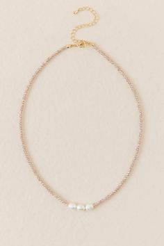 Gold Necklace with Double Bead Charms / Choker Drop Necklace / Double Tiny Ball Charm / Delicate Necklace / Understated Jewelry - Fine Jewelry Ideas Diy Choker, Pearl Choker, Beaded Choker, Diy Necklace, Beaded Jewelry, Jewelry Necklaces, Beaded Bracelets, Beaded Anklets, Diamond Necklaces