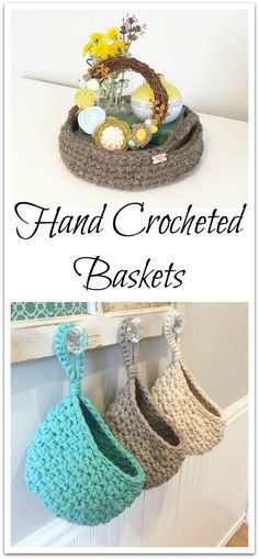 Crochet Tray/Crochet Basket with Handles/Hanging Storage Basket/Home Decor Hand crocheted basket in your choice of colors. Perfect for decor and storage.