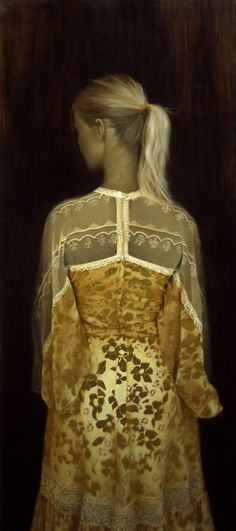 Brad Kunkle  The Gold Dress, 47 x 21 inches, Oil and gold on linen, Private collection