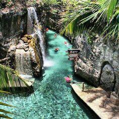 snorkeling thru an underground river in Xcaret, Riviera Maya, Mexico