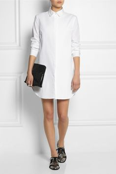 An androgynous feel... This white shirt dress is cut from crisp cotton-jacquard. We think this mini style works best with lace-up flats.