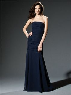 Column Strapless with Pleatings Floor Length Chiffon Bridesmaid Dress BD10250