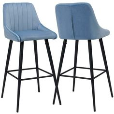 Duhome Set of 2 Bar Stools with Backrest Fabric Velvet Blue Barstool Metal Legs Colour Selection 5162