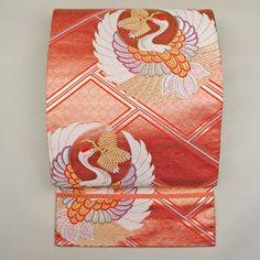 Pink, silk fukuro obi / 吉祥の鶴丸柄をあしらった格調高い袋帯 http://www.rakuten.co.jp/aiyama #Kimono #Japan #aiyamamotoya