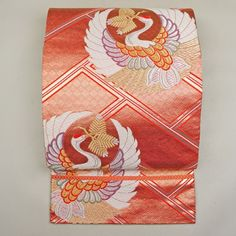 Pink, silk fukuro obi / 吉祥の鶴丸柄をあしらった格調高い袋帯 http://www.rakuten.co.jp/aiyama…