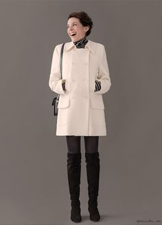 garance dore, over the knee boots, fashion, shopping stories, vicki archer What To Wear Fall, How To Wear, Long Legged Girls, White Winter Coat, Winter Looks, Winter Style, Skirts With Boots, Tonne, Parisian Chic