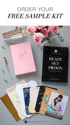 Seeing is believing. From luxe foil to laser-cut, see and feel all the choices with our FREE sample kit. Order yours today and let the wedding planning begin.