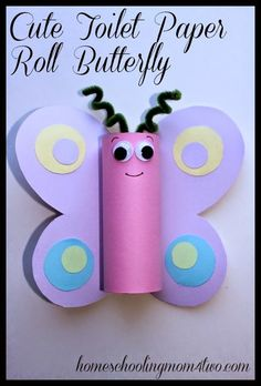 Toilet Paper Roll Butterfly Spring Craft for kids Preschool Crafts, Easter Crafts, Fun Crafts, Diy And Crafts, Crafts Cheap, Party Crafts, Spring Crafts For Kids, Crafts For Kids To Make, Summer Crafts