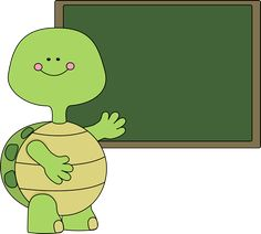 Turtle and Chalkboard Clip Art - Turtle and Chalkboard Image