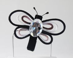 Satin Cord Butterfly Hair Clip by ThreeLittleHams $7.50