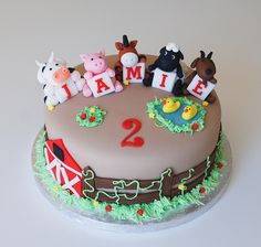 Wonderful Picture of Animal Birthday Cakes Zoo Birthday Cake, Animal Birthday Cakes, Farm Animal Birthday, Birthday Cake Pictures, Birthday Cake Toppers, Happy Birthday, Barnyard Cake, Farm Cake, Beautiful Birthday Cake Images