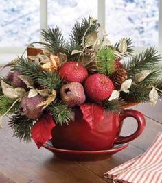 A floral arrangement in a mug makes a cute holiday gift!