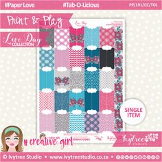 PP/191/CC/TOL - Print&Play - CUTE CUTS - Tab-O-Licious - Love Day Collection #PrintAndPlay #PlannerStickers #Scrapbooking #PaperCrafts #DigitalProducts