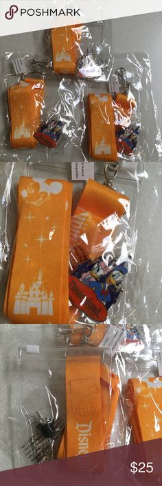 Lot 3 Disneyland pin & lanyards Donald Daisy Duck New in package , sorry for the glared photos , I did not want to remove them from the packages. You will receive 3 identical golden poppy yellow Disneyland lanyards featuring Mickey Mouse & the castle . They have the plastic window sleeve attached. In which you can use to hold your passes/ticket. And 3 identical Donald & Daisy Duck pin. The pins alone average $7 each in the Resort. All from my smoke free home. Ask all ?'s prior to purchase…