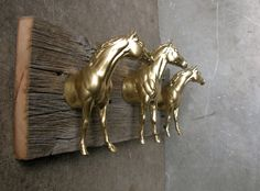 clothing / bridle rack in metallic gold