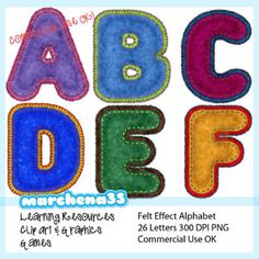 Felt Alphabet Clip Art - Clipart OK for Commercial Use
