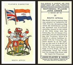 National Flag, African History, Coat Of Arms, Herb, South Africa, Old Things, Banner, Baseball Cards, Cigarette Box