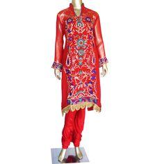 Crimson Blush: Georgette salwar suit with a Chantilly yoke!  Ready to ship! SHOP @ https://www.studiokairi.com/product.php?product=kairi269