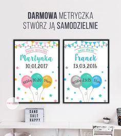 Metryczka / Plakat dla dziecka #plakat #prezent #na #Ścianę #grafika #obrazek #dla #dziecka #pokój #pamiątka #handmade #poster #baby #pokojdziecka #memorabli #birthannouncement #babyroom #plakatydladzieci Baby Design, Diy And Crafts, Arts And Crafts, Jaba, Kids And Parenting, Creative Design, Baby Room, Kids Room, Gallery Wall