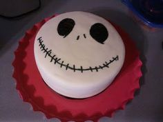Jack Skellington of The Nightmare Before Christmas. I made this cake for my friend Stephanie's 25th birthday.