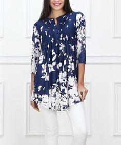 Blue & White Floral Notch Neck Tunic #zulily