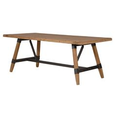 An impressive reclaimed style wooden dining table with industrial metal accents. Basic assembly required.