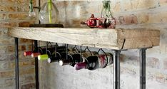 4 Ft Industrial Reclaimed Wine Bar And Rack/console Table With Pipe Legs And…