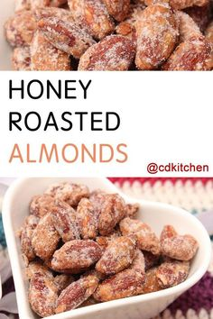 These candied almonds make for an irresistible snack. The nuts are oven-baked before being stirred into a sweet honey mixture and cooled. They store well and make a great homemade gift, too. Honey Roasted Almonds, Candied Almonds, Roasted Nuts, How To Roast Almonds, Spiced Almonds, Toasted Almonds, Nut Recipes, Almond Recipes, Homemade Gifts