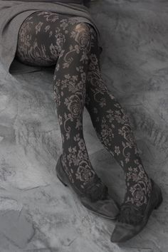 Floral Tights - Silky soft and fantastically floral. feet & panty area are solid black with vines & flowers twisting artistically around your legs. Floral Tights, Patterned Tights, Nylons, Colorful Socks, Tight Leggings, Shades Of Grey, 50 Shades, Sock Shoes, Gray Color
