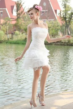 Shop affordable Romantic Strapless Organza Gown With Layered Ruffles at June Bridals! Over 8000 Chic wedding, bridesmaid, prom dresses & more are on hot sale. Mini Wedding Dresses, Wedding Dress Trends, Wedding Dress Styles, Prom Dresses, Wedding Ideas, Strapless Organza, Best Wedding Gifts, Sexy Shorts, Chic Wedding