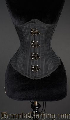 Pointed Pinstripe Clasp Corset - All Corsets - Corsets Neo Victorian, Gothic, Overbust Corset, Boned Corsets, Punk Goth, Steampunk Clothing, Waist Training, Fashion Outfits, Womens Fashion