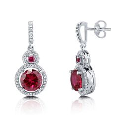 Round CZ Simulated Ruby Sterling Silver Double Halo Dangle Earrings