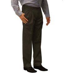 George Men's Premium Pleated Front Khaki Pants, Size: 34 x 30, Black