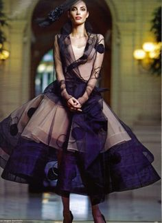 """notordinaryfashion: """" Christian Dior Haute Couture 2005 - John Galliano I can't tell you how much I love the design of this dress, it's layers, the hat. To Die For!!!! """""""