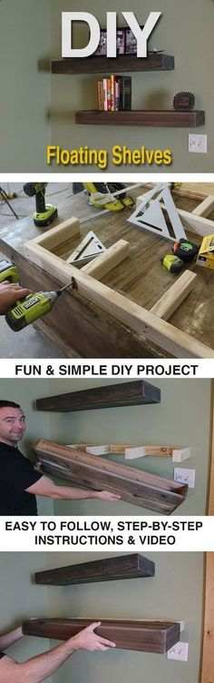 Plans of Woodworking Diy Projects - DIY Wood Floating Shelves. DIY Wood Floating Shelves are a great way to keep collectibles, decorative items or books. Its simple to make too. Get A Lifetime Of Project Ideas & Inspiration!