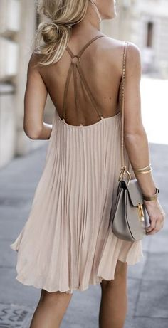#spring #fashion |Open Back Pleated Nude Little Dress
