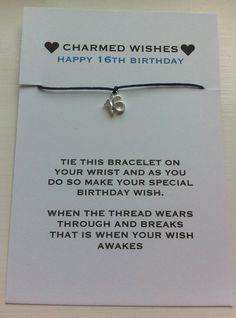 16th birthday bracelet  wish bracelet  by forgetmenotwishes