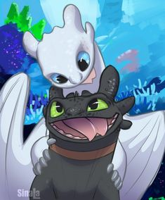 Toothless and his Light Fury White Night Fury mate Httyd Dragons, Dreamworks Dragons, Disney And Dreamworks, Httyd 3, Toothless And Stitch, Toothless Dragon, How To Train Dragon, How To Train Your, Cute Disney