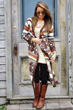 long aztec cardigan outfit