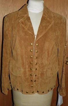 Pamela McCoy Collection QVC Tan Suede Leather Jacket Coat Stud Detailing NWT 1X #PamelaMccoy #JacketCoat #BusinessCasualOutdoor