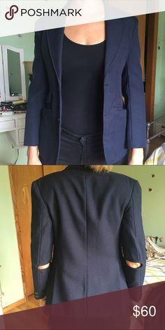 David Michael blazer David Michael blazer navy blue. Cut outs on elbows. Size s-m David Michael Jackets & Coats Blazers