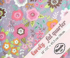 Flowers fabric - Cotton - Patchwork fabric - Floral pattern - By the  A4 Fat 8th  Fat Quarter Half Metre