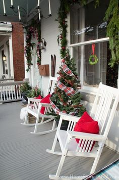 I'm excited to share some Christmas porch decorating ideas with you today for Just a Girl's Cottage Christmas, Christmas Room, Country Christmas, All Things Christmas, Christmas Holidays, Primitive Christmas, Christmas Christmas, Xmas, Cowboy Christmas