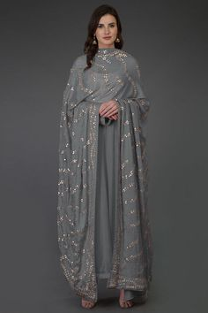 Grey Gota Patti & Zari Hand Embroidered Dupatta With Suit Designer Party Wear Dresses, Kurti Designs Party Wear, Indian Designer Outfits, Pakistani Dress Design, Pakistani Dresses, Indian Dresses, Ethnic Outfits, Indian Outfits, Indian Wedding Gowns