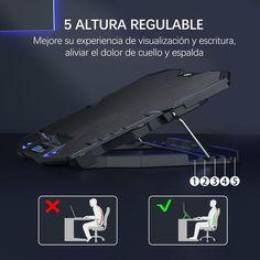 Topmate refrigerador portátil tiene un diseño único e inclinación ajustable, el ajuste de 5 alturas le permite aumentar su experiencia visual y de escritura, aliviando así el dolor en el cuello y la espalda.